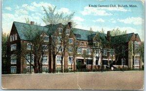1916 Duluth, Minnesota Postcard KITCHI GAMMI CLUB Lodge Building, Street View