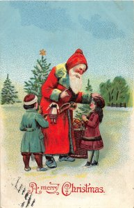 G6/ Santa Claus Christmas Postcard c1910 Kids Doll Robe Snow 13