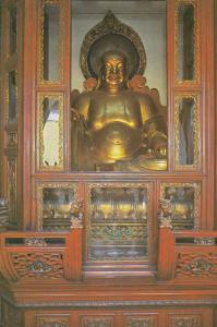 Mitreya Bodhisativa Sakyamuni Buddha Shanghai Temple Chinese Postcard