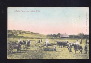 ALTUS OKLAHOMA ALFALFA FARM HORSE DRAWN FARMING ANTIQUE VINTAGE POSTCARD