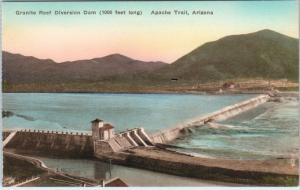 APACHE TRAIL, Arizona  AZ   Handcolored  GRANITE REEF DIVERSION DAM   Postcard