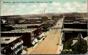 Oklahoma City~Broadway South From Telephone Bldg~Reed & Mueller Undertakers~1909