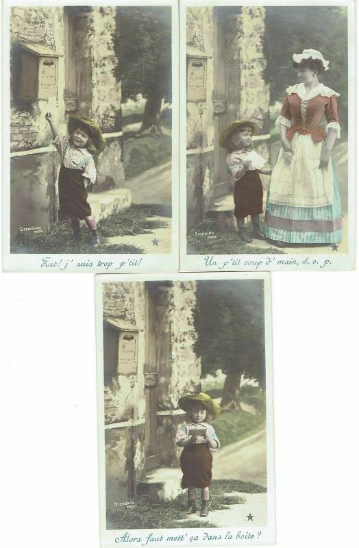 lot of 3 little boy mail letter mother Stebbing Photo