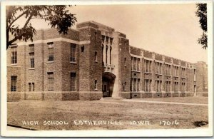 Vintage ESTHERVILLE, Iowa RPPC Real Photo Postcard HIGH SCHOOL Building / c1930s