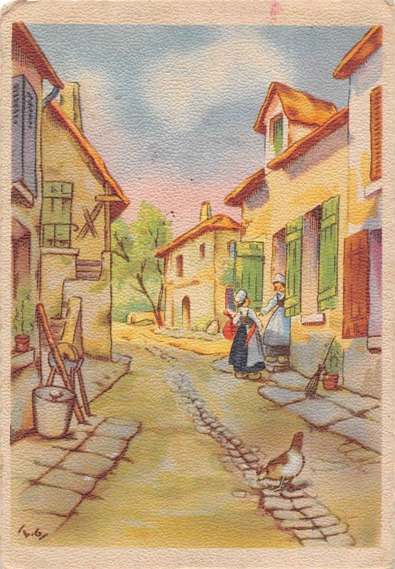 Village scene traditional, rue, road, women, costumes, chicken, France