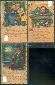 pc10761 postcard Tuck's Valentine Romance THREE used
