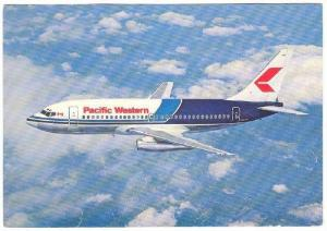 Pacific Western Airlines Boeing 737 Jet Airplane inflight , 70-90s
