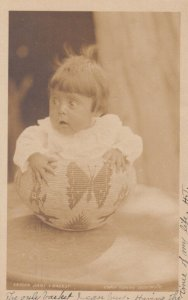 RP: CAMP CURRY, Yosemite, California, 1900-10s; Indian Baby in Basket