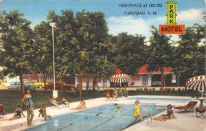 PARK MOTEL Carlsbad, NM US Hwy 62 Roadside New Mexico Vintage Postcard 1955