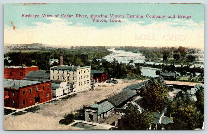Vinton Iowa~Birdseye~Canning Co Factory~Muhl Lumber Co~Plaster~Garage~c1910 PC