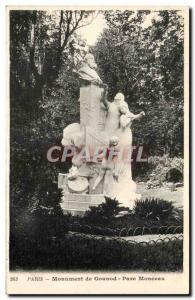 Paris Old Postcard Monument Gounod Parc Monceau