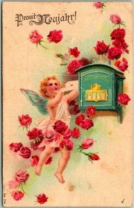 1908 German HAPPY NEW YEAR Postcard Flying Angel Mailing Letter / Pink Roses