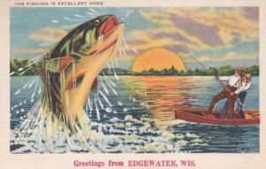 Wisconsin Greetings From Edgewater Men Catching Large Fish Exageration 1951