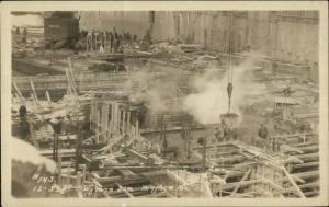 Bingham ME Wyman Dam Construction #143 c1920s-30s Real Photo Postcard