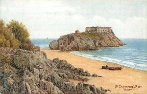 St Catherines Rock Tenby Wales UK United Kingdom Postcard