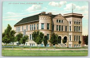 Kalispell Montana~Central Public School~Round Tower~Young Trees~Clouds~c1910 PIC