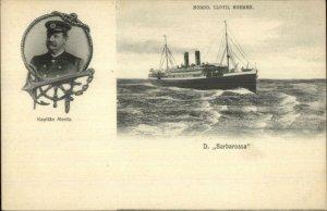 Nordd Lloyd Bremen BARBAROSSA & KAPITAN MENTZ c1905 UDB Postcard