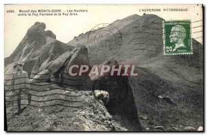 Old Postcard Monts Dore Rocks Massif between Puy Ferrand and Puy Gros