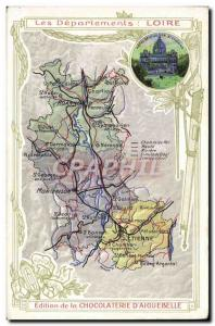 Old Postcard Geographic Map of Chocolaterie & # 39Aiguebelle Department Loire...