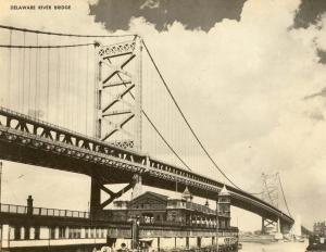 PA - Philadelphia. Delaware River Bridge to Camden, NJ.  JUMBO Postcard (9 X...