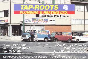 TAP-ROOTS , Plumbing & Heating Co , VANCOUVER, B.C. , Canada , 70-80s