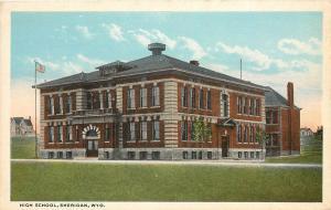 Vintage Postcard High School Sheridan WY Wyoming
