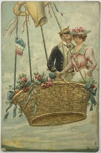 Old DVB Embossed Postcard Couple Hot Air Balloon France Flag Anthropomorphic Sun