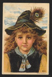 VICTORIAN TRADE CARD Haywards Grocery Girl in Hat with Feather