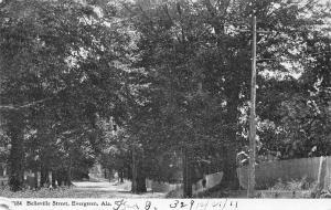 Evergreen Alabama~Belleville Street~Wooded Drive Along Fences~1911 B&W Postcard