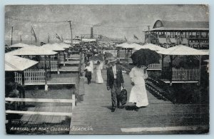Postcard VA Colonial Beach Crowd Departing Steamer Ship Boat Arrival 1909 R54