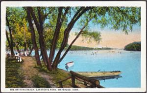 WATERLOO Iowa - THE BATHING BEACH at LAFAYETTE PARK 1920s view