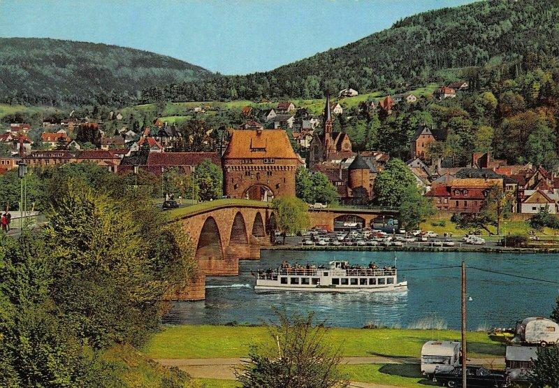 Miltenberg am Main River Bridge Boat Church Panorama Postcard
