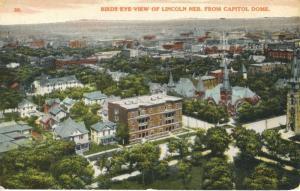 Lincoln NE Nebraska Birdseye From Capital Dome Vintage Postcard D21