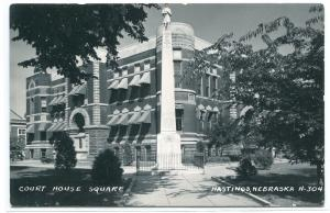 Court House Square Hastings Nebraska 1950s RPPC Real Photo postcard