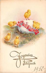 Joyeuses Paques Easter chicken babies egg flowers fleurs 1932
