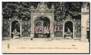 Nancy Postcard Old Neptune Fountain by Guibal and grid Jean Lamour (1755)