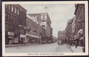 P1421 old unused postcard old cars w.t. grant store congress st. portland maine