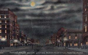 TOPEKA , Kansas , 1913 ; Kansas Avenue at night