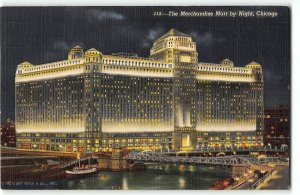 Merchandise Mart building by Night, Chicago IL - 1943 Postcard to Camp Wallace