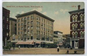 Second Avenue Market Square Rock Island Illinois 1917 postcard