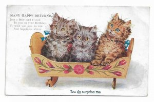 MANY HAPPY RETURNS, 1900-10s; Three Kittens in a wooden cradle, Poem