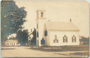 BARNSTEAD PARADE, New Hampshire RPPC Real Photo Postcard Church View 1908 Cancel