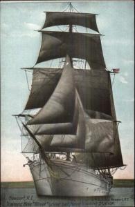 Newport RI Training Ship Brig Boxer c1910 Postcard