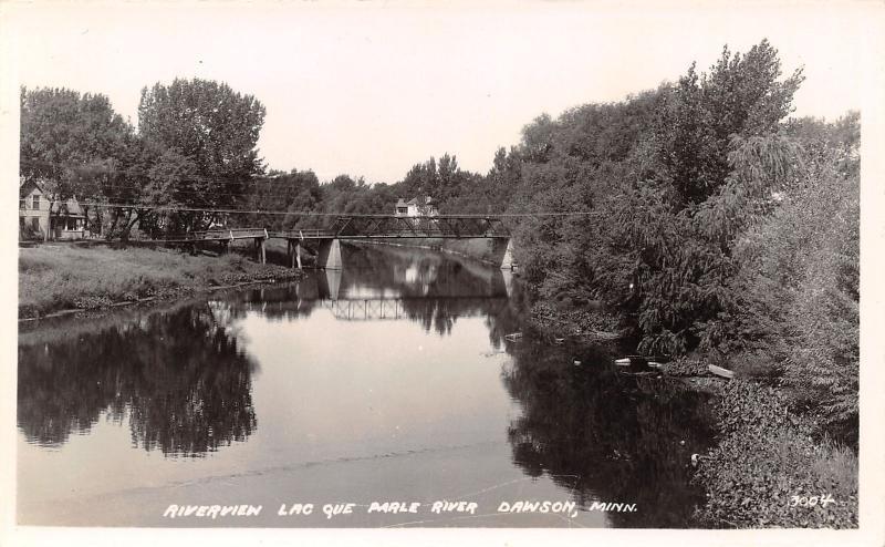 Dawson Minnesota~Suspension Bridge~Lac Que Parle River~House~1930s RPPC