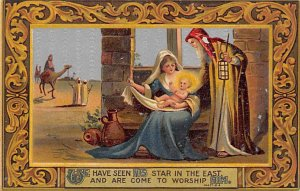 Religious Postcard Nativity Scene Writing on Back