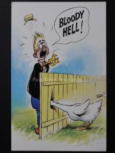 Bamforth & Co BLOOODY HELL! Man taking a Pee, Goose puts head through fence
