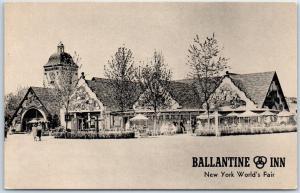 1939 New York World's Fair Postcard BALLANTINE INN Beer Garden Restaurant UNUSED