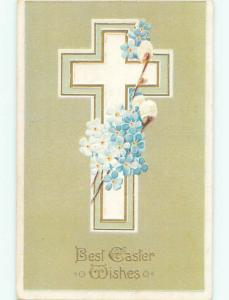 Pre-Linen easter religious JESUS CROSS WITH FLOWERS AND PUSSYWILLOW J2178