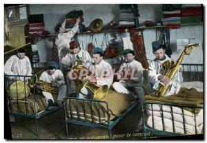 Old Postcard Army Infantry Musicians preparing for the concert Music Brass Sa...