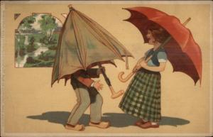Silly Children Under Umbrella - Meissner & Buch c1910 Postcard